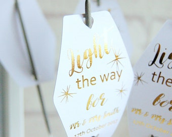 Light the way sparkle tags, Wedding tags, wedding sparkler tags, tags for sparklers, celebration wedding labels, foiled wedding tags