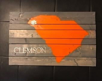 Clemson SC Wood Sign