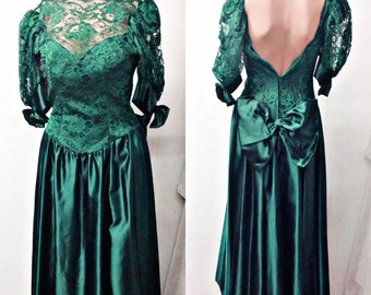 80's Green lace,shinny,backless,Prom Dress,formal gown