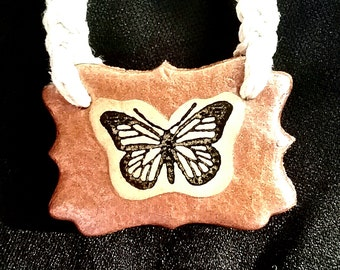 Clay Butterfly Hemp Necklace