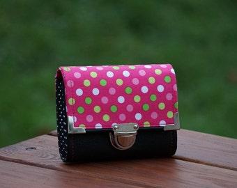 Womens Wallet,  Vegan Wallet, Hot Pink, Dots Wallet, 13x10cm, Small Wallet, Women's Wallet, Leatherette Wallet, Fabric Wallet, Purse