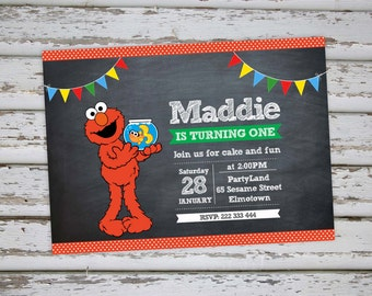 Elmo Birthday Invitation Elmo Invitation Elmo Invite Elmo Party Elmo Birthday Sesame Street Invitation