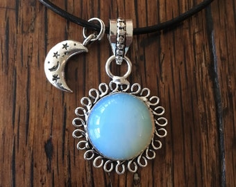 Flower In The Sun' Fiery Opalite Sterling Silver Overlay Choker Necklace with Moon Charm