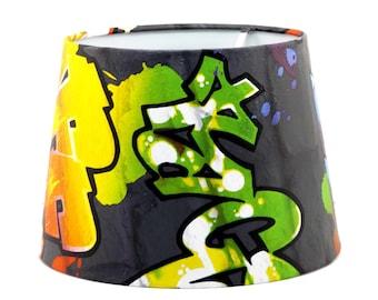 Black Graffiti Lampshade Ceiling Light Shade Lamp shade or Pendant Light shade Boys Girls Teens Grafitti Urban Themed Room Bedroom