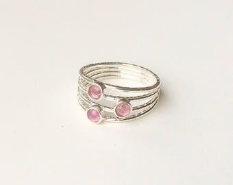 Fuchsia pink multicolor tourmaline 925 sterling silver ring