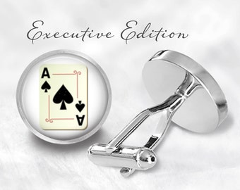 Ace of Spades Cufflinks - Playing Cards Cufflinks - Vegas Poker Cufflink (Pair) Lifetime Guarantee (S0134)