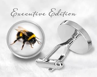 Bumblebee Cufflinks - Bumble Bee Cufflinks - Bee Keeper Cufflink Set (Pair) Lifetime Guarantee (S0826)