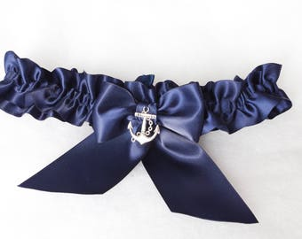 Anchor garter Navy blue Wedding garters Bridal blue satin garters Nautical garter Gold anchor garte Nautical wedding Silver anchor garter