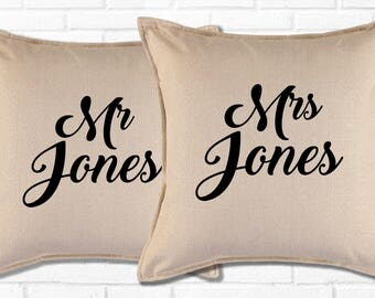 2 x Mr & Mrs Cushions