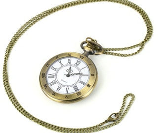 Pocket watch with bronze tone large diameter, friend gift