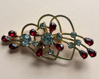 Vintage Heart Brooch, Vintage Heart Convertible Pendant Brooch, Double Heart Pendant Brooch, Ruby Red Teardrop Rhinestones,White Rhinestones