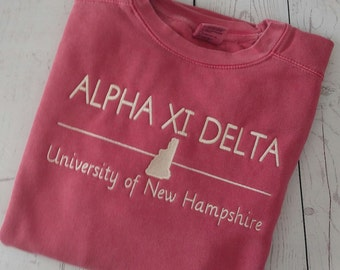 Custom Sorority Sweatshirt, Alpha Xi Delta Sweatshirt, Sorority Sweatshirt, Comfort Colors Sweatshirt, Monogrammed, Personalized Sweatshirt
