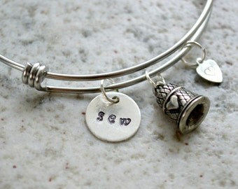 Hand Stamped Charm Necklace: Sew Jewelry Bracelet or Necklace - gifts for quilters and sewists