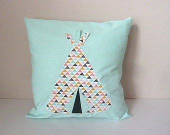 Cushion 40x40cm tipi cover feathers customizable graphic Blue Green