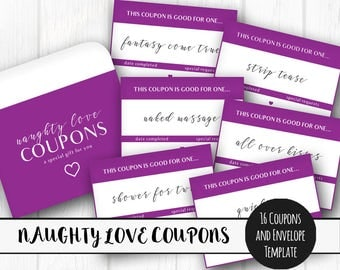 Printable Naughty Love Coupons, Instant Download, Adult Love Tokens, Love Vouchers, Printable Valentines Gift, Love IOU's, Gift for Him
