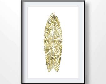 SURFBOARD poster, surfboard printable, Surf print, gold print, surfing decor, palm leaf surfboard, Sea life, ocean art , palm leaf, 2139