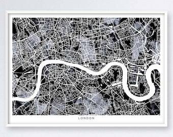 LONDON MAP, black and white, map of london, watercolor, city art, street maps, cartography, england decor, travel art, london printable,6017