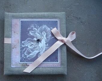 Accordion Photo Book, Spring, photo album 4x4, Handmade scrapbook album