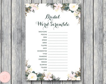 White Floral Bridal Word Scramble Bridal Shower Game, Unscramble, Bridal shower game, Bridal shower activity, Printable Game WD74 TH21