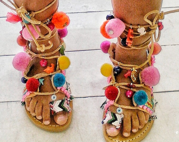 Greek sandals ''BOHOGIRL'' ,gladiator,tie up,colorfull ,boho ,ethnic,girl sandals,baby sandals,pompom sandals,kinds sandals