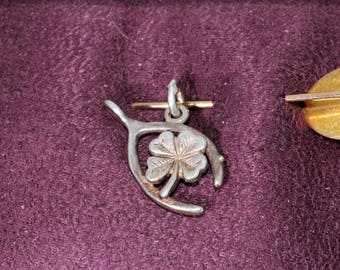4 Leaf Clover and Wishbone Charm, Vintage, Estate, Sterling Silver/SS, 925, Cute, Dainty, ET258