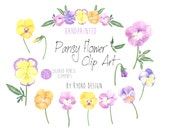 Pansy Clip art, Flower Clipart, Pansy Clipart, Colored Pencil Flower, Craft supply, Spring, scrapbooking, Flower image, digital download