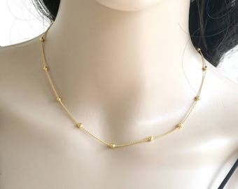 Satellite Necklace, Gold Chain Necklace, Gold Necklace, Gold Beaded Necklace, Dainty Beaded Necklace, Delicate Gold Necklace, Thin Necklace