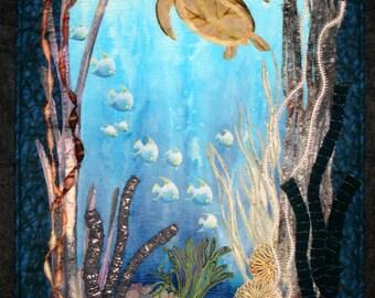Art Quilt, Original Fiber Art Wall Hanging, Seascape, Coral Reef, Hand dyed Fabric, Fabric Art, Sea turtle, Fish, Ocean scene