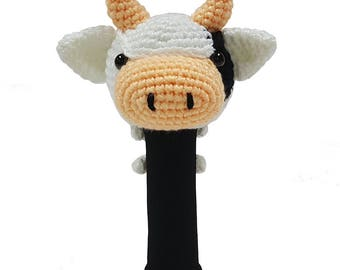Hand Stitched Yarn Animal Driver/Wood Golf Head Cover - Cow