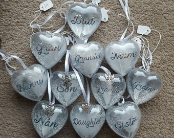 Personalised Heart Silver and White Glitter Feather Angel Memorial Keepsake, Gift,  Baubles, Christmas Tree decorations Or Keepsake