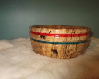 Hand Turned Spalted Maple Bowl With Red and Blue Stripe