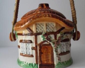 Vintage ceramic biscuit barrel. Cottage shaped biscuit jar. Burlington ware Pottery biscuit barrel. Retro Homewares.
