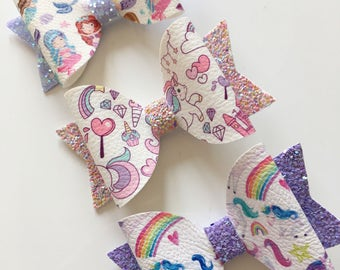 Unicorn/Mermaid hair bow - choice of 3 designs - on smooth alligator clip