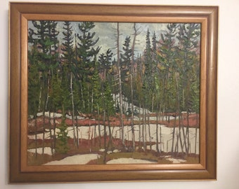 Lawrence NICKLE Oil Painting Board Pegg's Lake Ryerson Parry Sound Ont Canada Listed Canadian Artist Landscape