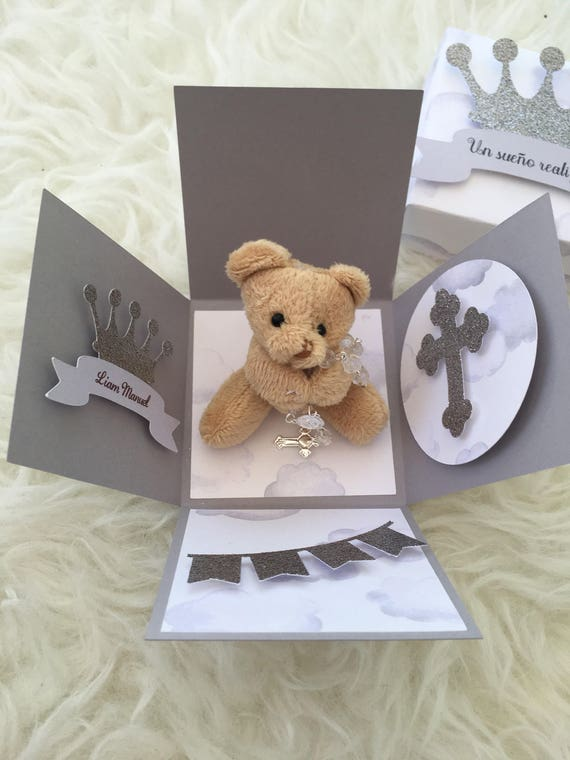 Teddy bear theme baby shower invitation Explosion box