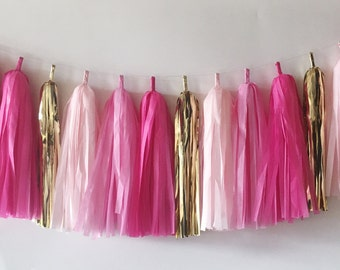Tissue Tassel Garland  //  Pink  //  Blush  //  Gold  //  Party Decoration  //  Bridal Shower  //  Birthday Party