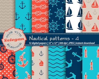 "nautical scrapbook paper "" Nautical Patterns -4 "" Nautical Digital Paper,Sea Digital Paper,Nautical Background,Printable Nautical Paper"