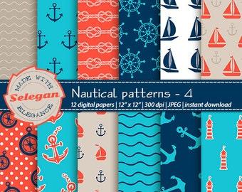 "nautical scrapbook paper "" Nautical Patterns -4 "" Nautical Digital Paper,Sea Digital Paper,Nautical Background,Printable Nautical Paper"