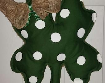 St. Patrick's Day four leaf clover door hanger