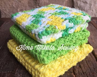 Crocheted Dishcloths - Bright Yellow and Green - 100% Cotton - Set of Three