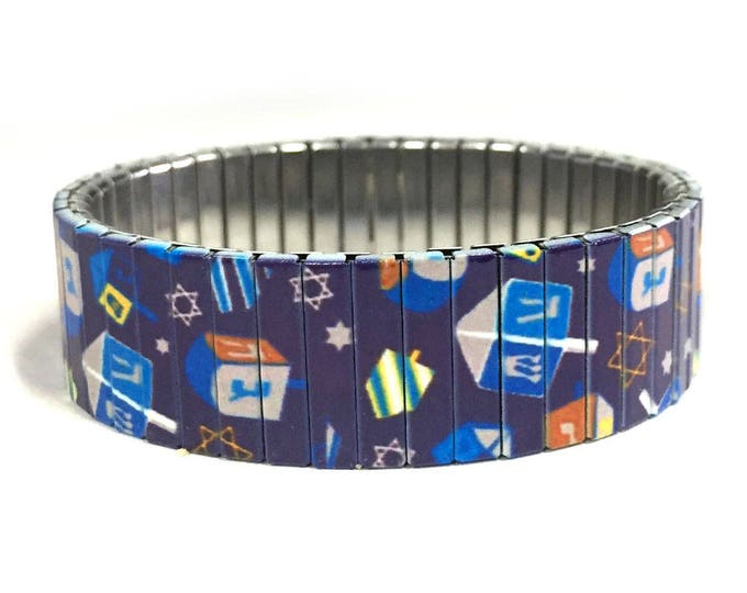 Dreidels bracelet, Hanukkah, Jewish Holiday, Stretch Bracelet, Repurpose Watchband, Sublimation, Stainless Steel, gift for friends