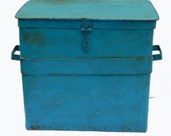 Can old Metal patina blue 5,90kg craft India Thaindaga 43x30x39cm
