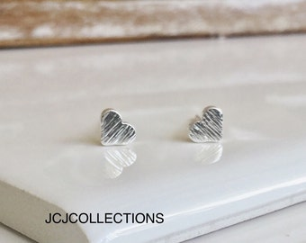 Tiny Silver Heart Stud Earrings