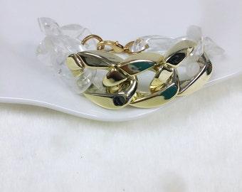 Transparent gold Chain Bracelet, Gold Chain Bracelet, Statement Gold Bracelet, Lightweight Bracelet