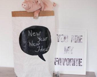 Chalkboard painted Paperbag storage Handmade design Sac de rangement Sac en papier Paper bag Papiertüte Papersack Papiersack