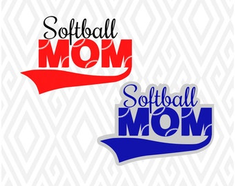 Softball Mom SVG, DXF, EPS, Ai, Png and Pdf Cutting Files for Electronic Cutting Machines