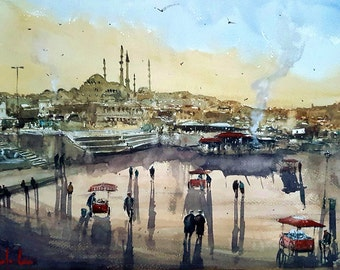 Sunset at The Square Watercolor Painting, Istanbul Art Print