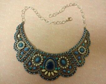 Turquoise Necklace, Turquoise Bib Necklace, Blue Necklace, Blue Enamel Necklace, Statement Turquoise Necklace, Statement Blue Necklace