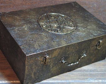 Necronomicon Deck Box, Handmade, Trading Card Game, Book of the Dead, Magic Card Dice Storage, Yog-Sohoth