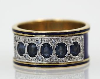 Sapphire Diamond Enamel ring .75cts sapphires on a bed of single cut diamonds  6.5